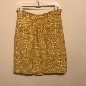 Anthropologie mustard yellow & cream skirt size 8